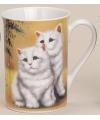Mok met lieve katten geel 10 cm